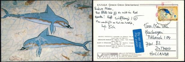 CP Moderne Fresque aux dauphins
