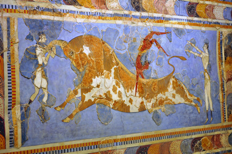 Frescoes of young Minoan men jumping over bulls, Knossos Palace, Crete