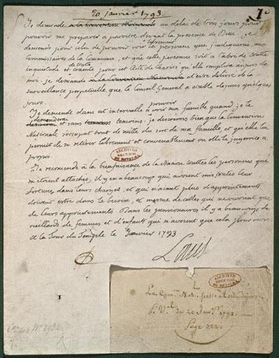 Lettre LOUIS XVI